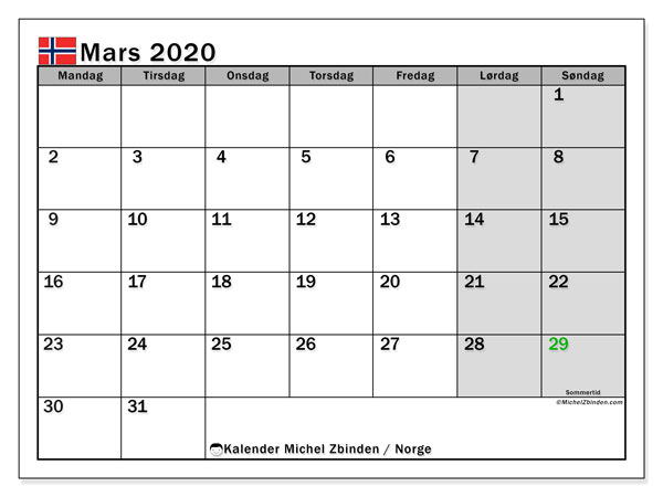 Kalender mars 2020, med høytiden til Norge. Kalender for gratistrykk med helligdager.