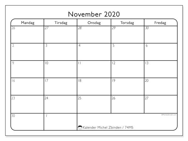 Kalender november 2020, 74MS. Gratis tidsplan å trykke.