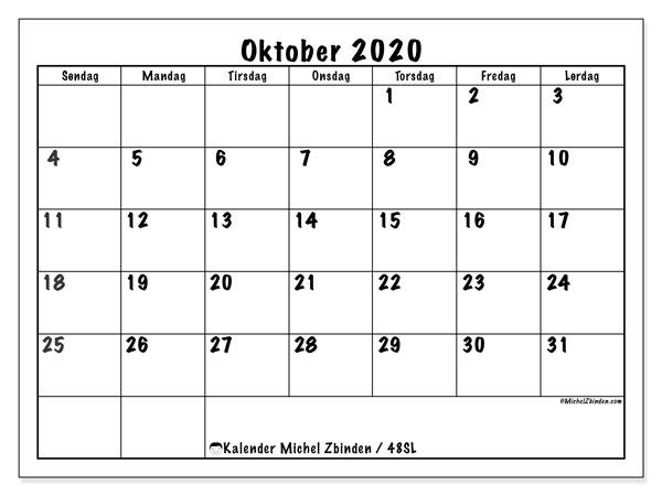 Kalender oktober 2020, 48SL. Kalender som skal skrives ut gratis.