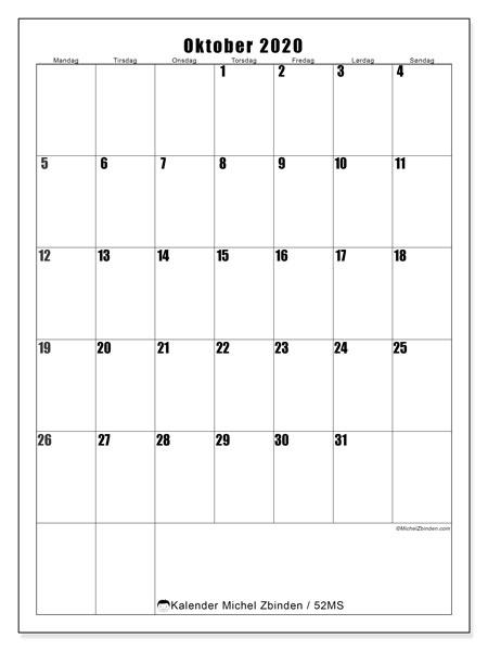 Kalender oktober 2020, 52MS. Gratis kalender å trykke.