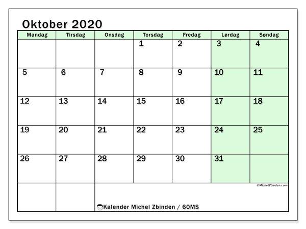 Kalender oktober 2020, 60MS. Kalender som skal skrives ut gratis.