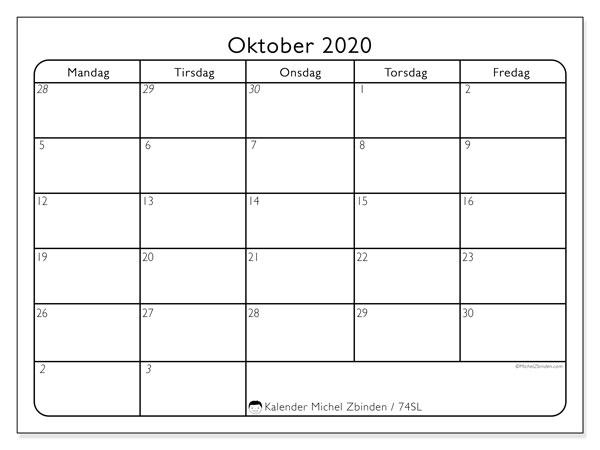 Kalender oktober 2020, 74SL. Arrangør å skrive ut gratis.