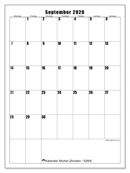 Kalender september 2020, 52MS. Gratis utskrivbar kalender.