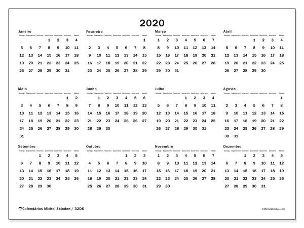 Calendário 2020, 32DS. Calendário gratuito para imprimir.