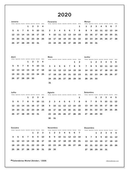 Calendário 2020, 33DS. Calendário anual para imprimir gratuitamente.
