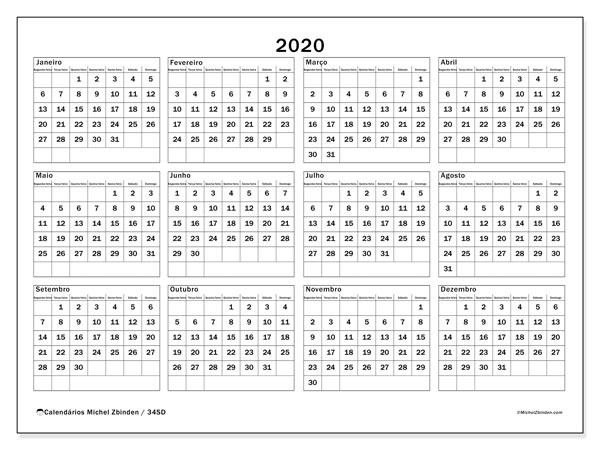 Calendário 2020, 34SD. Calendário para imprimir gratuitamente.