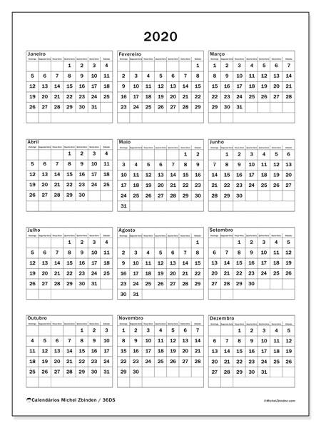 Calendário 2020, 36DS. Calendário para o ano para imprimir livre.