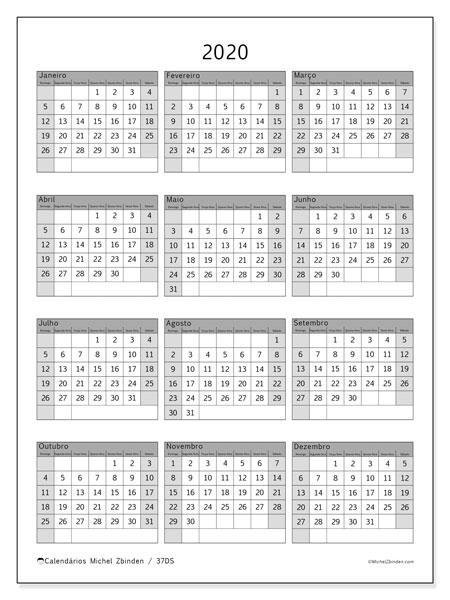 Calendário 2020, 37DS. Calendário gratuito para imprimir.