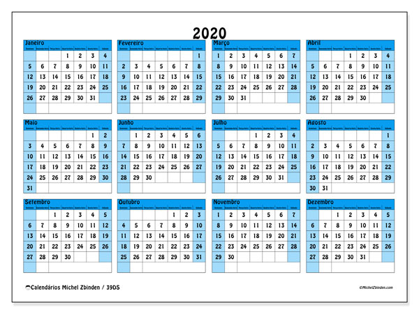 Calendário 2020, 39DS. Calendário para imprimir livre.