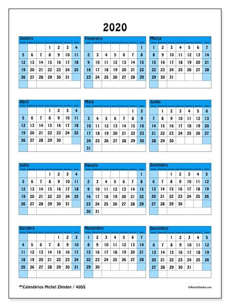 Calendário 2020, 40DS. Calendário para o ano para imprimir livre.