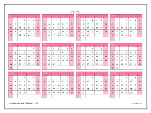 Calendário 2020, 41DS. Calendário anual para imprimir gratuitamente.
