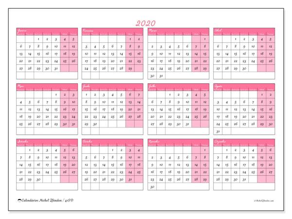 Calendário 2020, 41SD. Calendário gratuito para imprimir.