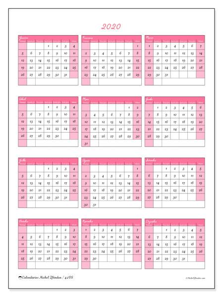 Calendário 2020, 42DS. Calendário para o ano para imprimir livre.