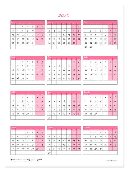 Calendário 2020, 42SD. Calendário anual para imprimir gratuitamente.