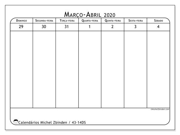 Calendário 2020, 43-14DS. Calendário para a semana para imprimir livre.
