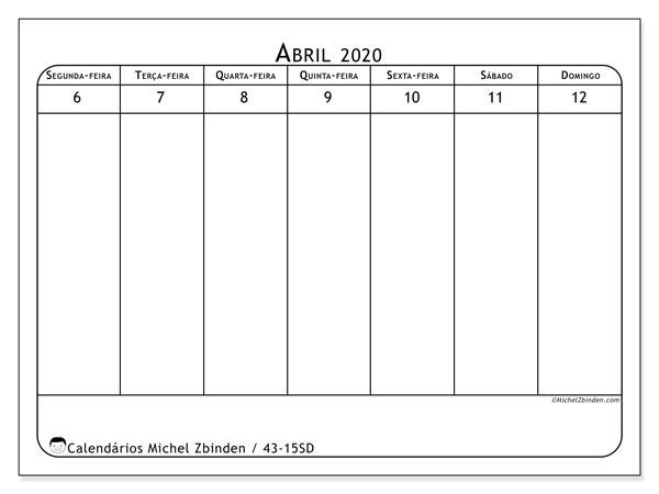 Calendário 2020, 43-15SD. Agenda para imprimir livre.