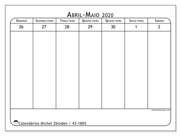 Calendário 2020, 43-18DS. Calendário gratuito para imprimir.