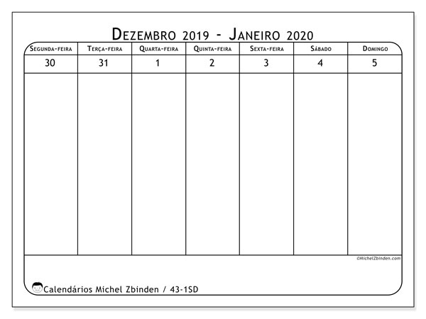 Calendário 2020, 43-1SD. Calendário semanal para imprimir gratuitamente.