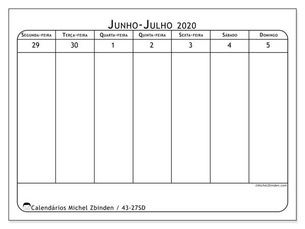 Calendário 2020, 43-27SD. Calendário para imprimir gratuitamente.