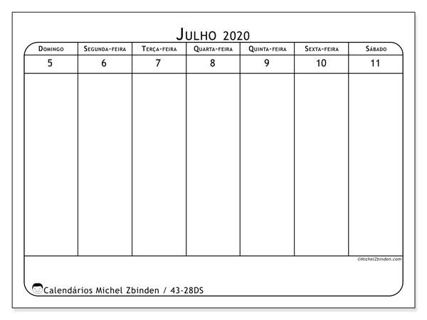 Calendário 2020, 43-28DS. Calendário semanal para imprimir gratuitamente.