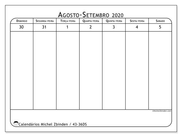 Calendário 2020, 43-36DS. Calendário semanal para imprimir gratuitamente.