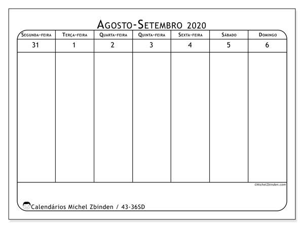 Calendário 2020, 43-36SD. Calendário para imprimir livre.