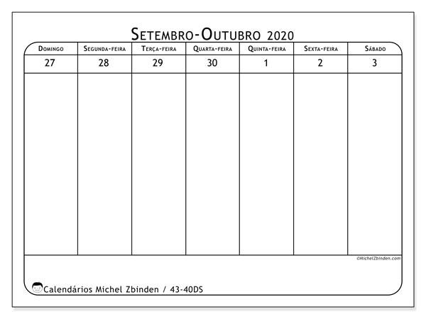 Calendário 2020, 43-40DS. Horário para imprimir livre.