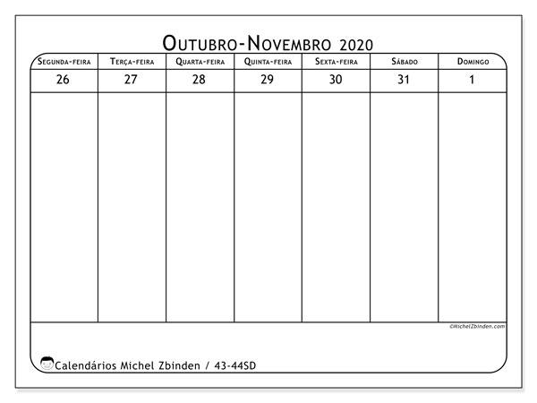 Calendário 2020, 43-44SD. Calendário semanal para imprimir gratuitamente.