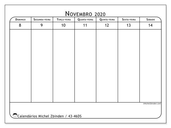 Calendário 2020, 43-46DS. Calendário semanal para imprimir gratuitamente.