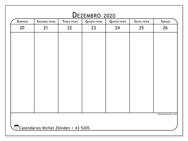 Calendário 2020, 43-52DS. Calendário semanal para imprimir gratuitamente.