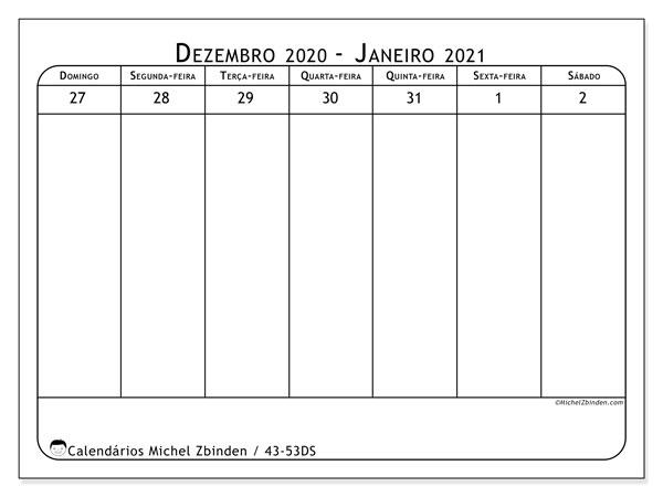 Calendário 2020, 43-53DS. Calendário para imprimir livre.