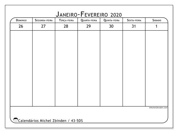 Calendário 2020, 43-5DS. Calendário semanal para imprimir gratuitamente.