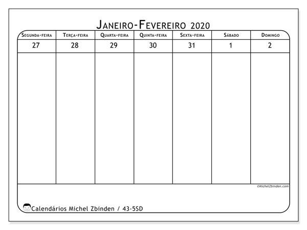 Calendário 2020, 43-5SD. Calendário para imprimir gratuitamente.