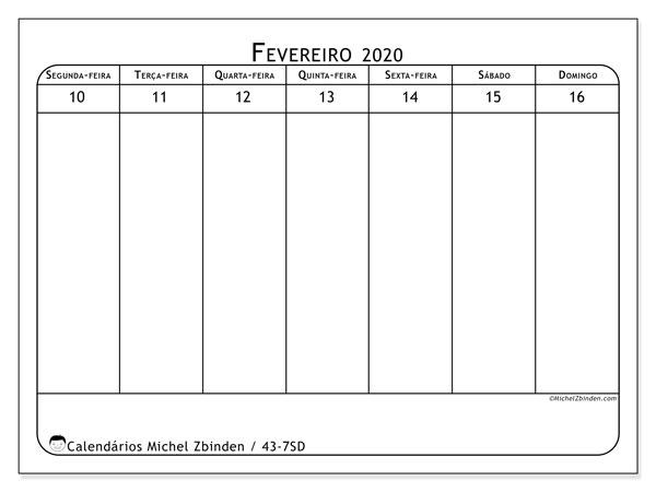Calendário 2020, 43-7SD. Calendário semanal para imprimir gratuitamente.