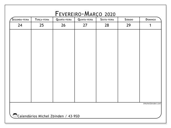 Calendário 2020, 43-9SD. Calendário semanal para imprimir gratuitamente.