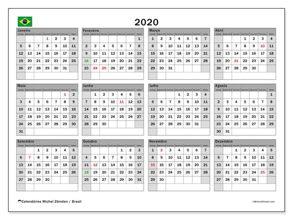 Calendario 2020 Com Feriados.Calendario 2020 Brasil Michel Zbinden Pt