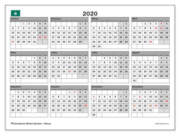 Calendário 2020, com as festas do Macau. Calendário feriados para imprimir gratuitamente.