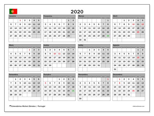 Calendário 2020, com com feriados em Portugal. Calendário feriados para imprimir gratuitamente.