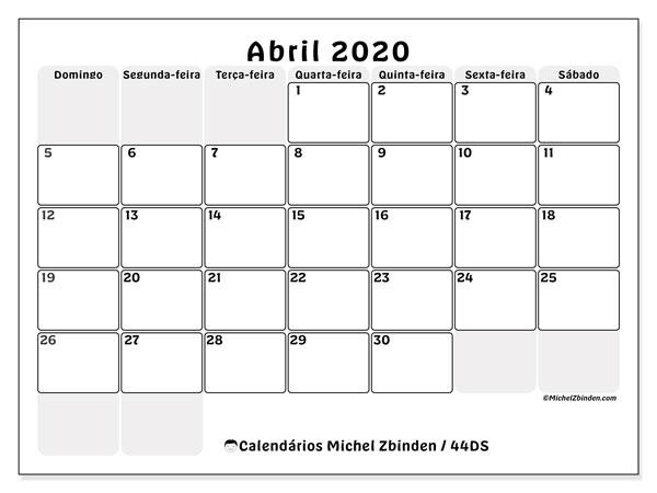 Calendário abril 2020, 44DS. Agenda para imprimir livre.