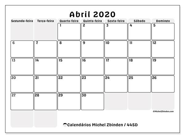 Calendário abril 2020, 44SD. Calendário gratuito para imprimir.