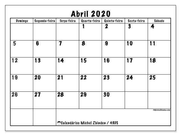 Calendário abril 2020, 48DS. Agenda para imprimir livre.