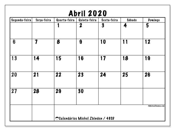 Calendário abril 2020, 48SD. Horário para imprimir livre.