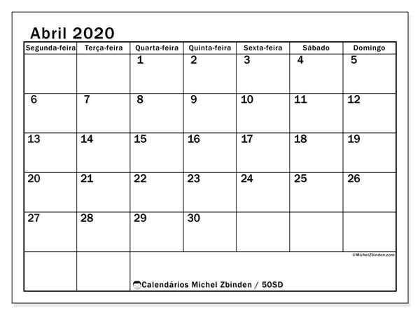 Calendário abril 2020, 50SD. Calendário gratuito para imprimir.