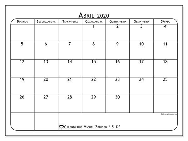 Calendário abril 2020, 51DS. Calendário mensal para imprimir gratuitamente.