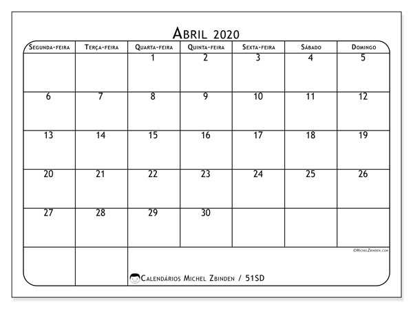 Calendário abril 2020, 51SD. Calendário para imprimir livre.