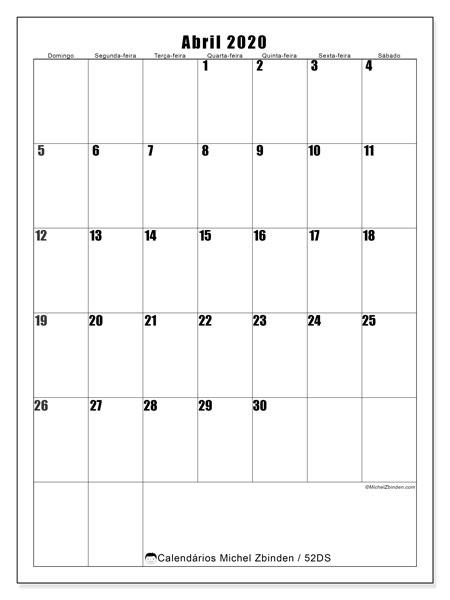 Calendário abril 2020, 52DS. Calendário para o mês para imprimir livre.
