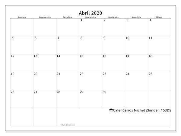 Calendário abril 2020, 53DS. Calendário gratuito para imprimir.