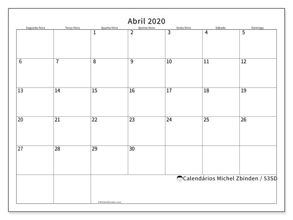 Calendário abril 2020, 53SD. Calendário para imprimir gratuitamente.