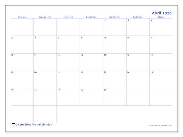 Calendário abril 2020, 55DS. Calendário gratuito para imprimir.