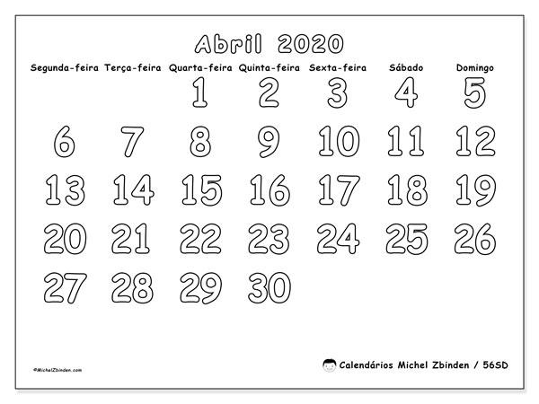 Calendário abril 2020, 56SD. Calendário para o mês para imprimir livre.